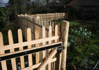 clôture ganivelle portail bois châtaignier Kastané #039