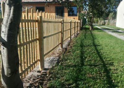 clôture ganivelle portail bois châtaignier Kastané